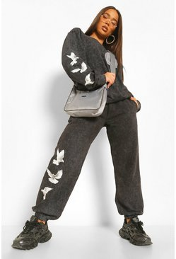 Acid Wash Dove Back Print Tracksuit, Charcoal grau