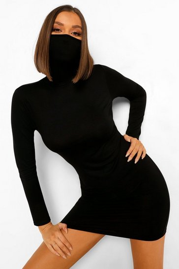 Black Long Sleeve Face Mask Mini Dress