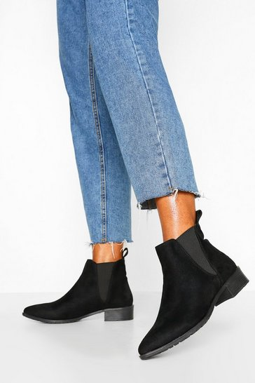 Black Pointed Flat Chelsea Boot