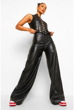 Black Oversized Leather Look Wide Leg Trousers