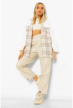 Contrast Panel Check Belted Shacket, White bianco