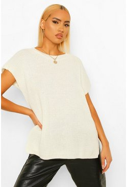 Cream white Crew Neck Knitted Tank