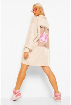 Stone beige Floral Back Print Tonal Shirt Dress