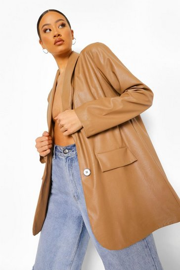 Caramel beige Oversized Leather Look Dad Blazer
