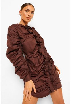 Chocolate brown Cotton Mix Ruched Detail Shirt Dress