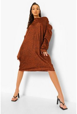 Rust orange Satin Leopard Print Cowl Shift Dress