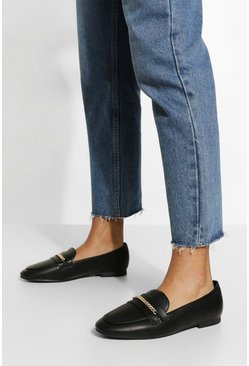 Black Chain Detail Basic Loafers