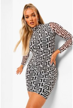 White Monogram High Neck Long Sleeve Midi Dress