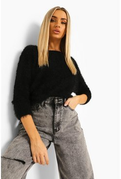 Black Fluffy Feather Knit Jumper