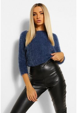 Blue Fluffy Feather Knit Jumper