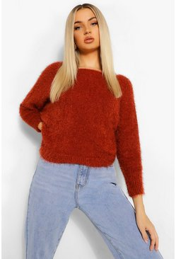 Rust orange Fluffy Feather Knit Sweater