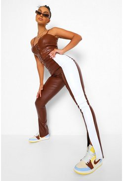 Chocolate Leather Look Colour Block Split Hem Trousers