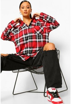 Red Super Oversized Brushed Checked Shirt