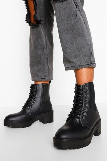 Black Elastic Detail Lace Up Hiker Boot