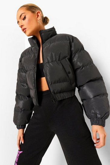 Black Reflective Puffer Jacket