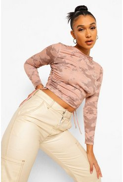 Stone beige Tie Dye Ruched Side Detail Top