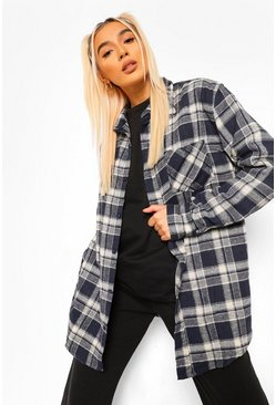 Navy Super Oversized Brushed Checked Shirt
