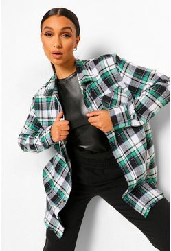 Green Super Oversized Brushed Checked Shirt