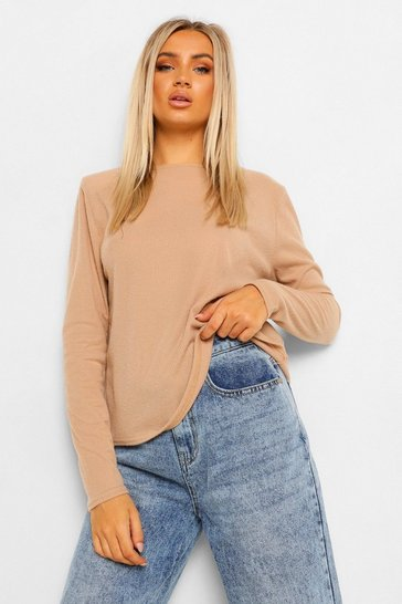 Stone beige Beige Long Sleeve Brushed Soft Rib Knit Shoulder Pad Top
