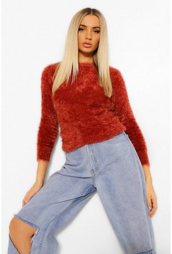 Rust orange Fluffy Feather Knit Jumper