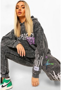 Charcoal grey Oversized Acid Wash Gebleekte Graffiti Hoodie
