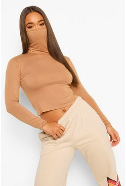 Camel beige Long Sleeve Face Mask Top