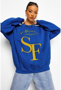 Cobalt blue Oversized San Francisco Sweatshirt