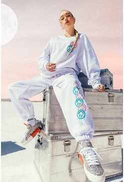 White Oversized Graffiti Print Sweater Tracksuit
