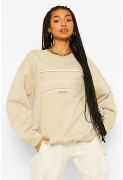 Sand beige Oversized Positive Vibes Embroidered Sweatshirt