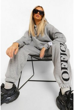 Grey marl Oversized Official Hood Print Tracksuit