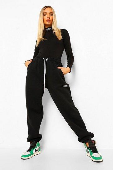 Black Official Print Bodysuit And Joggers Set
