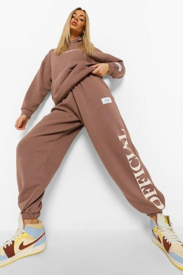 Chocolate brown Oversized Official Hood Print Tracksuit