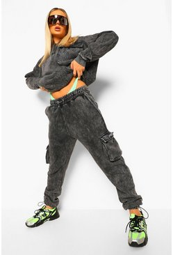 Charcoal grey Utility Half Zip Hooded Tracksuit