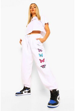 White Butterfly Cropped T-Shirt & Joggers Set