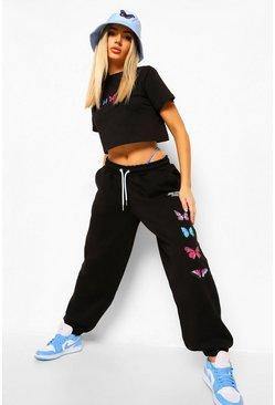 Black Kort T-Shirt Met Vlinder & Joggingbroek Set