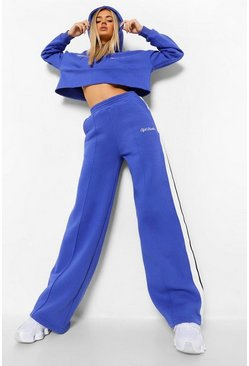Cobalt blue Cropped Tape Hoodie & Wide Leg Joggers