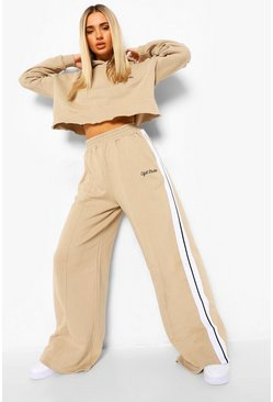 Stone beige Cropped Tape Hoodie & Wide Leg Joggers