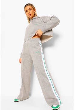 Grey Cropped Tape Hoodie & Wide Leg Joggers