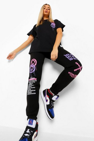 Black Oversized Graffiti Print T-Shirt and Joggers Set