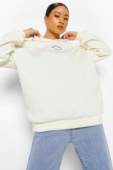 Cream white White Ath-Leisure Oversized  Embroidered Hoodie