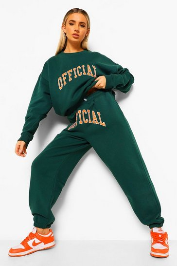 Green Official Applique Sweater Tracksuit