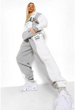 Grey Colour Block Official Hooded Tracksuit