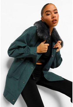 Emerald green Faux Fur Collar Parka Coat