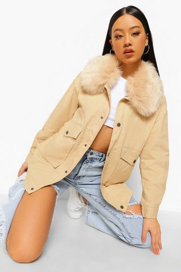 Stone beige Faux Fur Collar Parka Coat