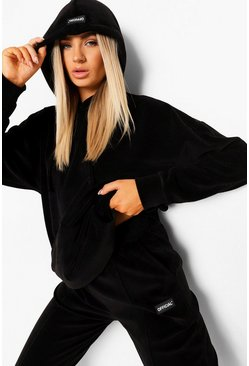 Black Velour Hooded Tracksuit