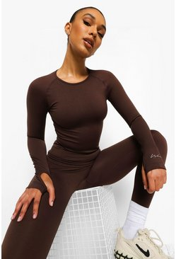 Chocolate Seamless Active Long Sleeve Top