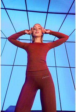 Rust orange Seamless Active Long Sleeve Top