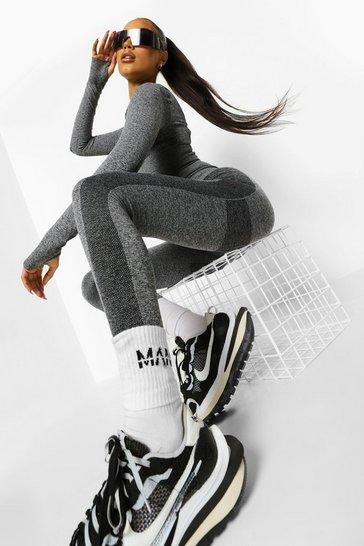 Grey Open Back Seamless Gym Crop Top