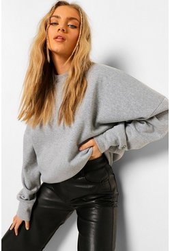 Grey marl grey Official Embroidered Oversized Sweatshirt