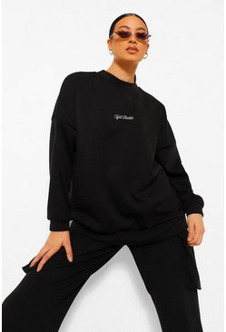 Black Official Embroidered Oversized Sweatshirt